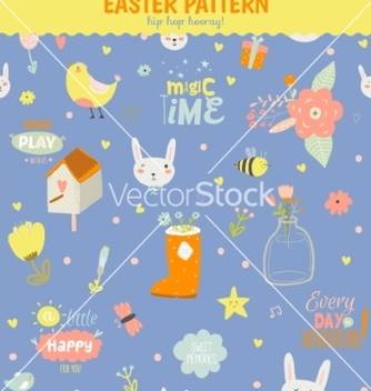 Free cute pattern with animals bunny birds flowers vector - Free vector #234739