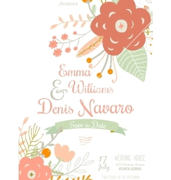 Free vintage romantic floral save the date invitation vector - Free vector #234769
