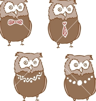 Free set of cute surprised owls vector - Free vector #235099
