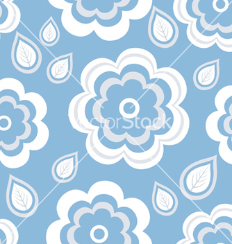 Free seamless pattern blue with flowers and leaf vector - Free vector #235109