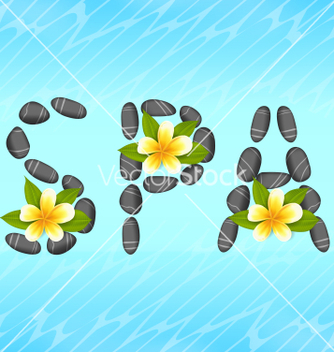 Free lettering spa made of pebbles and frangipani vector - Free vector #235189