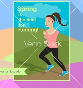 Free girl is running in the field vector - Free vector #235559