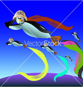 Free penguin flies vector - vector gratuit #235639