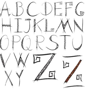 Free grunge ethnic alphabet vector - Free vector #235699