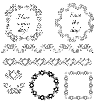 Free decorative vintage frames and design elements vector - бесплатный vector #235839
