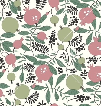 Free seamless pattern of pomegranate and apple tree vector - Free vector #235969