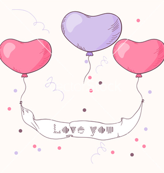 Free hand drawn heart balloons holding ribbon vector - бесплатный vector #236199
