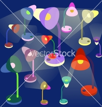 Free colorful tablelamps on darkblue background vector - Free vector #236319