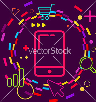 Free mobile phone on abstract colorful geometric dark vector - Free vector #236449