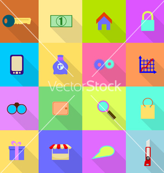 Free 16 flat icons on a colored background vector - Free vector #237789