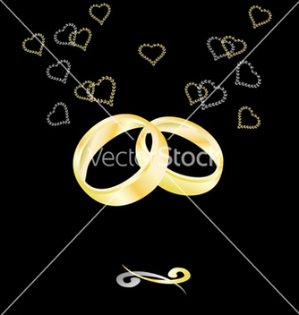 Free gold wedding rings on a black background vector - vector gratuit #238059