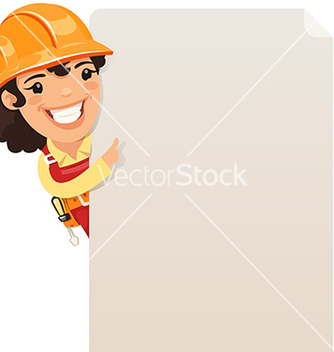 Free female builder looking at blank poster vector - Free vector #238179