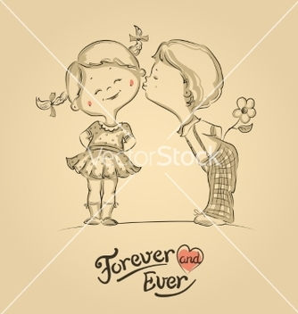 Free hand drawn of kissing boy and girl vector - бесплатный vector #238199
