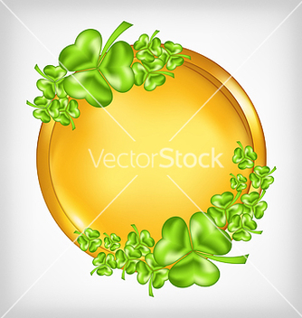 Free golden coin with shamrocks st patricks day symbol vector - Free vector #238219