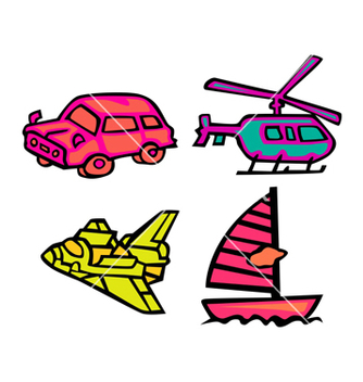 Free cute transportation pack vector - Free vector #238519