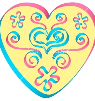 Free heart decorated by ribbons in pinkblue colors vector - vector gratuit(e) #238609