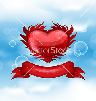 Free red heart on blue sky for valentines day vector - Free vector #238969