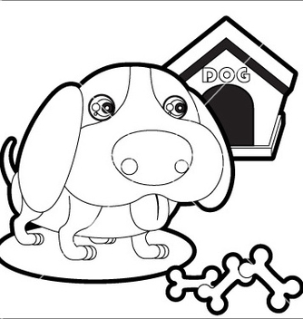 Free cute dog with dog house and bones vector - vector gratuit #240019