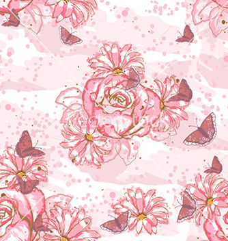 Free seamless floral background vector - Free vector #241039