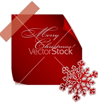 Free red paper snowflake over red sticker vector - Free vector #242229