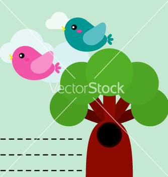 Free cute birds with tree vector - vector gratuit #243059