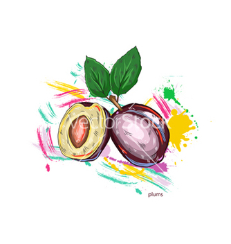 Free plums with colorful splashes vector - Free vector #243259