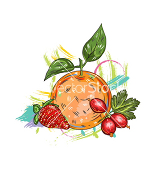 Free fruits with colorful splashes vector - Free vector #243279