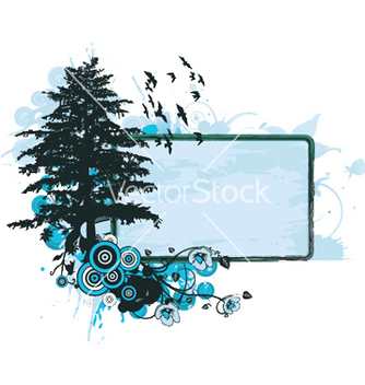 Free grunge floral frame with tree vector - Free vector #243859