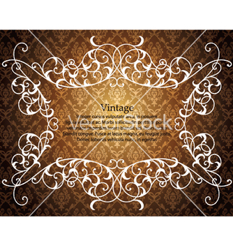 Free vintage floral frame with damask background vector - Free vector #244079