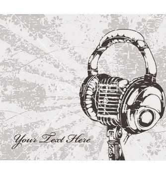Free concert wallpaper with microphone and headphones vector - Free vector #246769