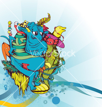 Free funny monsters background vector - Kostenloses vector #248619