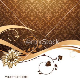 Free flower with damask background vector - Free vector #248859