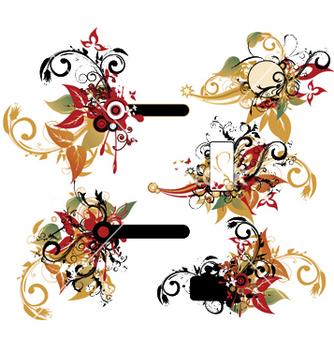 Free vintage floral frames set vector - Free vector #248999