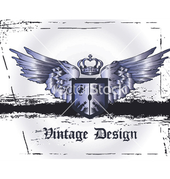 Free crown with wings and shield vector - Free vector #249259