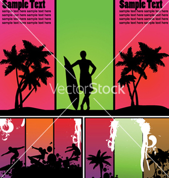 Free summer backgrounds set with palm trees vector - Free vector #249459