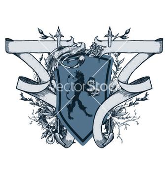 Free vintage emblem with shield vector - Kostenloses vector #251439