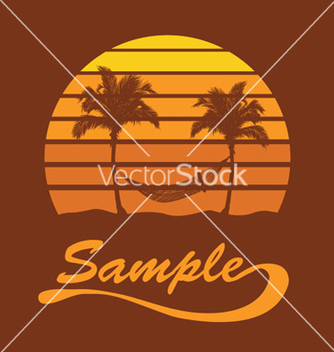 Free summer tshirt design with palm trees vector - Free vector #252139