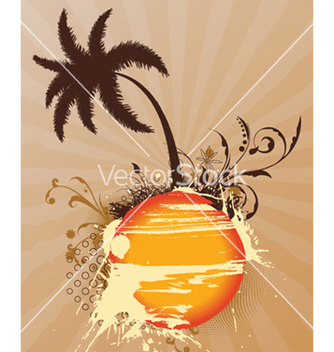 Free vintage summer background with palm tree vector - Free vector #252489