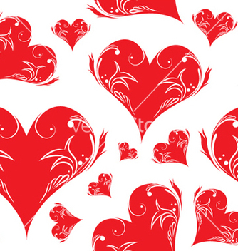 Free vintage seamless pattern with hearts vector - Kostenloses vector #253269