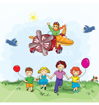 Free cute kid flying with a plane vector - Free vector #254069