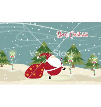 Free santa with trees vector - Free vector #254139