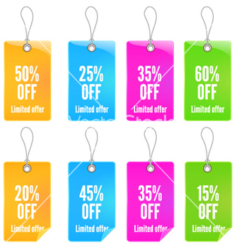 Free colorful shopping tags set vector - Kostenloses vector #258069