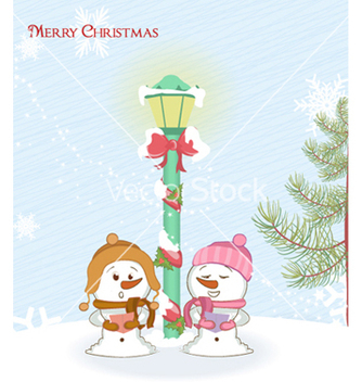 Free snowmen with street light vector - Kostenloses vector #259299