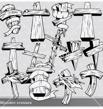 Free vintage wood crosses set vector - Kostenloses vector #259659