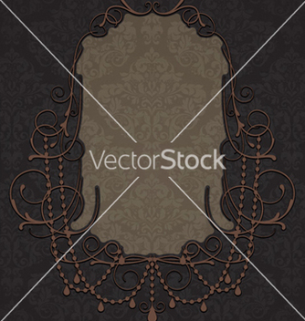 Free vintage label with damask background vector - Free vector #261959