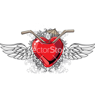 Free heart with floral and wings vector - Free vector #263249