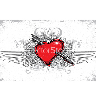 Free heart with floral wings and grunge vector - Free vector #263459
