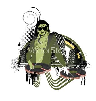 Free concert poster with dj girl vector - Kostenloses vector #264049