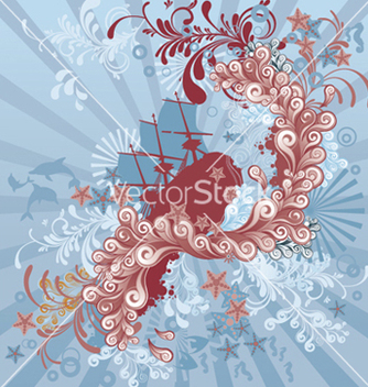 Free abstract background with old ship vector - Free vector #264319