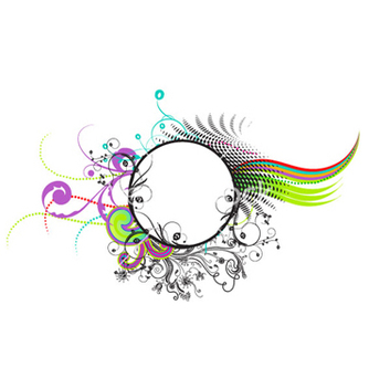 Free colorful abstract floral frame vector - Free vector #264539